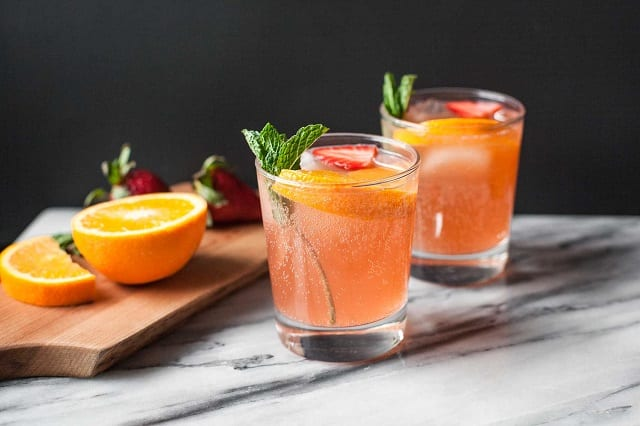 Strawberry Orange Ginger Fizz by Becky at Calculated Whisk